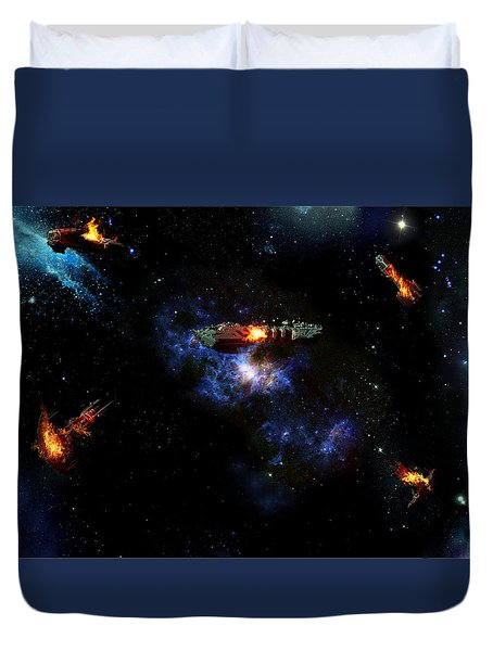 Off The Shoulder Of Orion Duvet Cover by Joseph Soiza