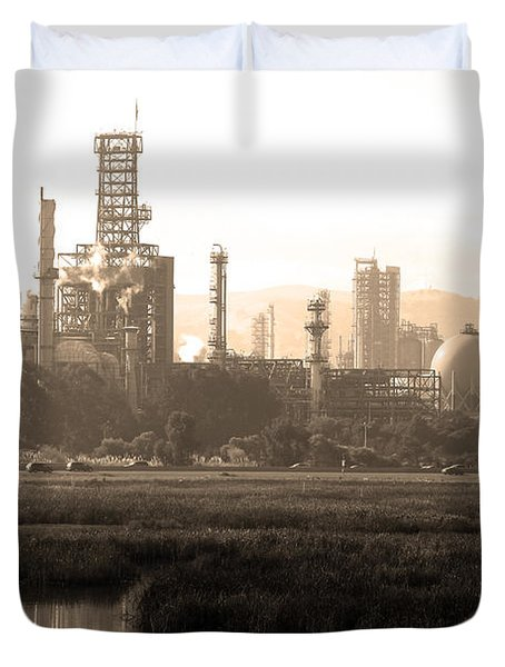 Oil Refinery Industrial Plant In Martinez California . 7D10364 . sepia Duvet Cover by Wingsdomain Art and Photography