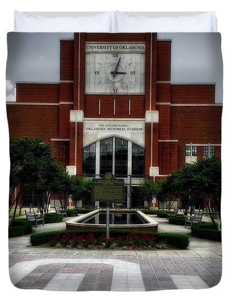 Oklahoma Memorial Stadium Duvet Cover by Center For Teaching Excellence