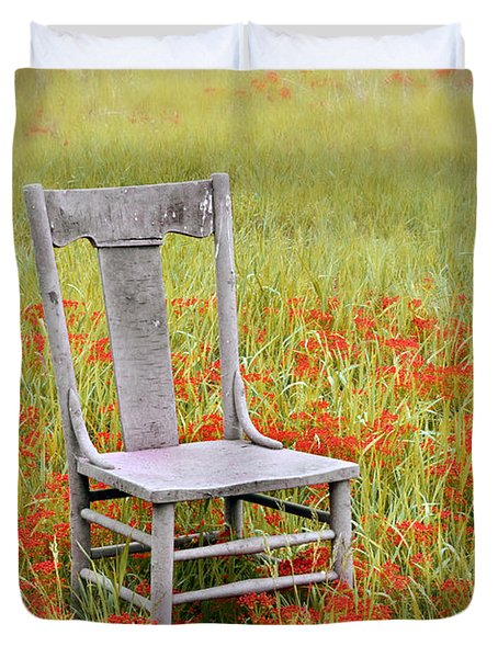 Old Chair In Wildflowers Duvet Cover by Jill Battaglia