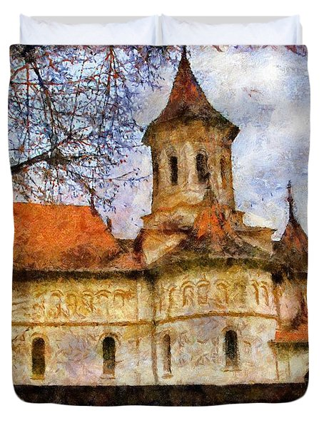 Old Church With Red Roof Duvet Cover by Jeff Kolker