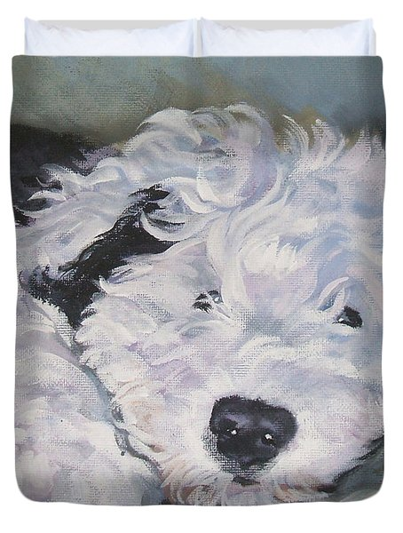 Old English Sheepdog Pup Duvet Cover by Lee Ann Shepard