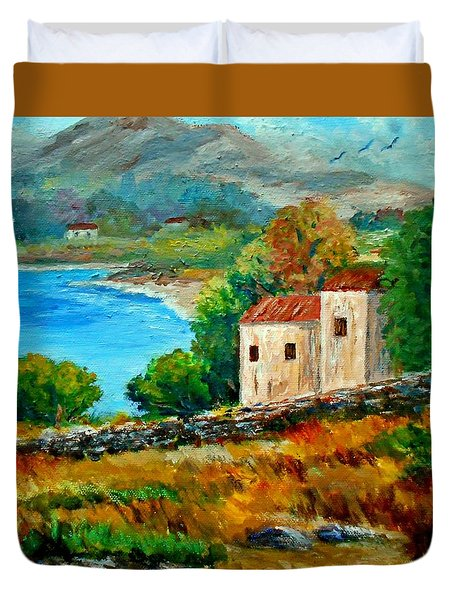 Old House In Mani Duvet Cover by Constantinos Charalampopoulos