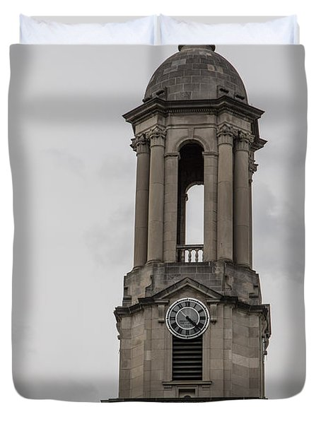 Old Main From Front Clock Duvet Cover by John McGraw