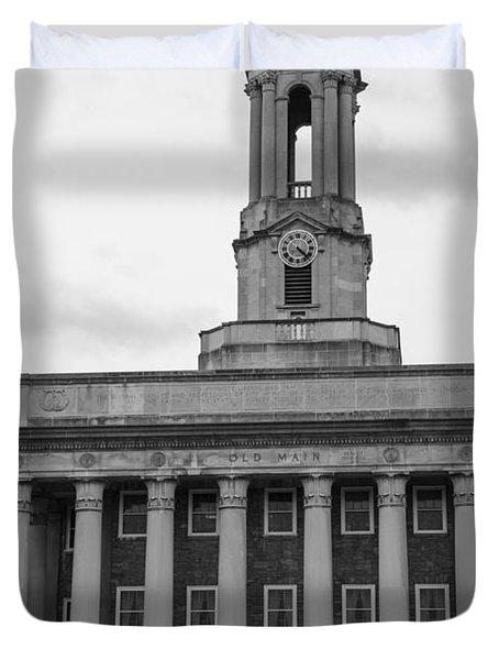 Old Main Penn State Black And White Duvet Cover by John McGraw