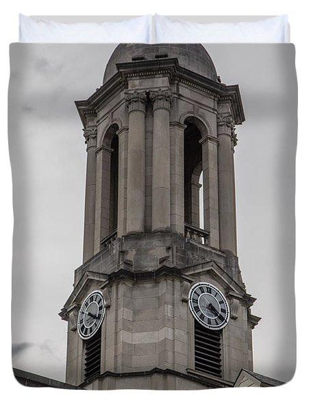 Old Main Penn State Clock  Duvet Cover by John McGraw