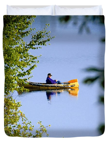 Old Man On The Lake Duvet Cover by David Lee Thompson