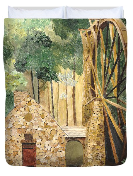 Duvet Cover featuring the painting Old Mill At Berry College by Rodney Campbell