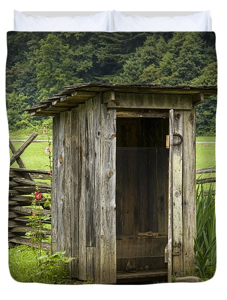 Old Outhouse On A Farm In The Smokey Mountains Duvet Cover by Randall Nyhof
