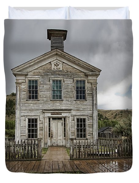 Old School House After Storm - Bannack Montana Duvet Cover by Daniel Hagerman