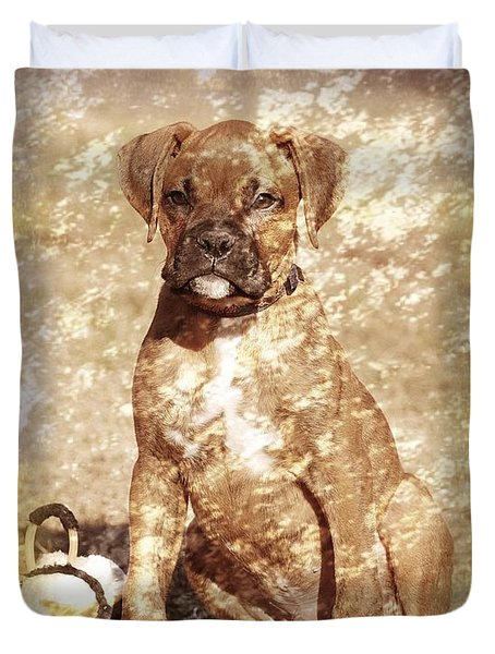 Old Time Boxer Portrait Duvet Cover by Angie Tirado