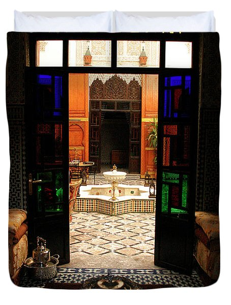 Old Traditional Riad In Fez Duvet Cover by Ralph A  Ledergerber-Photography