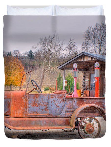 Old Truck And Gas Filling Station Duvet Cover by Douglas Barnett