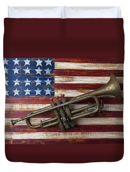 Old Trumpet On American Flag Duvet Cover by Garry Gay