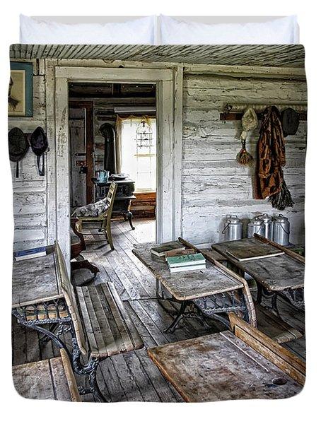 Oldest School House C. 1863 - Montana Territory Duvet Cover by Daniel Hagerman