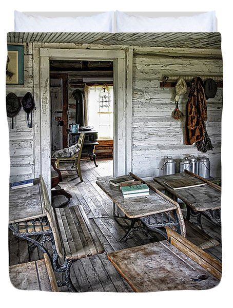 OLDEST SCHOOL HOUSE c. 1863 - MONTANA TERRITORY Duvet Cover by Daniel Hagerman