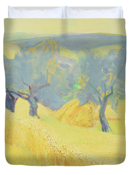 Olive Trees In Tuscany Duvet Cover by Antonio Ciccone