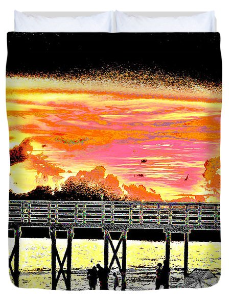 On the Beach Duvet Cover by Bill Cannon