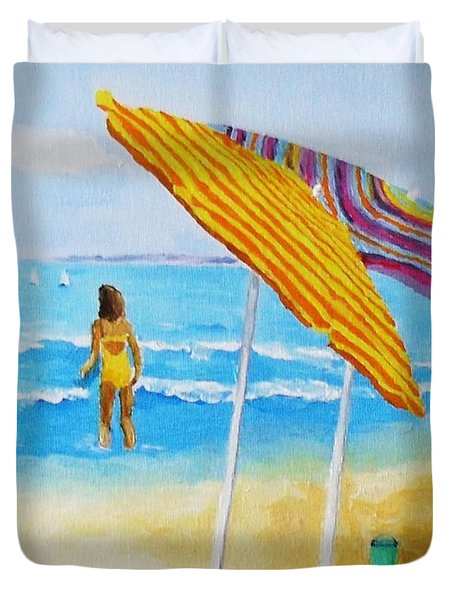 Duvet Cover featuring the painting On The Beach by Rodney Campbell