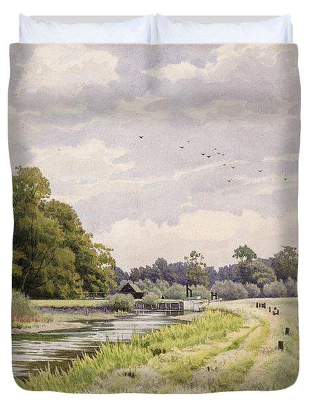On The River Ouse Hemingford Grey Duvet Cover by William Fraser Garden