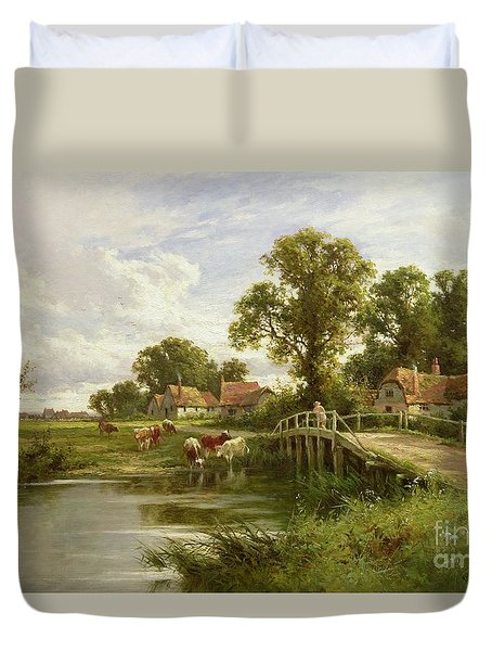 On The Thames Near Marlow Duvet Cover by Henry Parker
