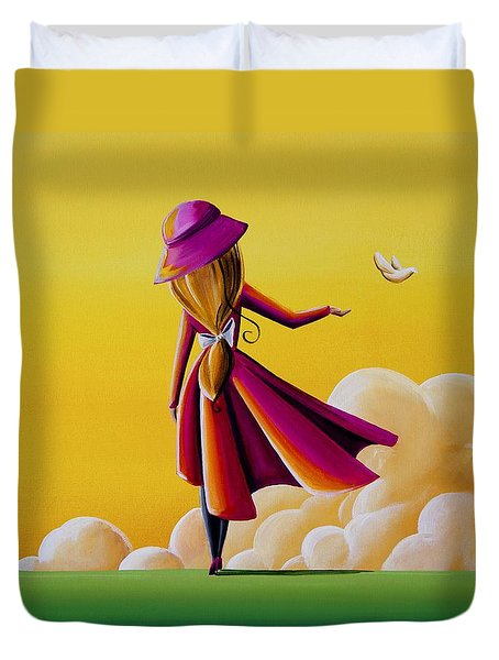 On The Wings Of A Dove Duvet Cover by Cindy Thornton
