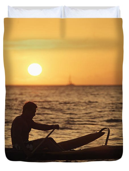 One Man Canoe Duvet Cover by Sri Maiava Rusden - Printscapes