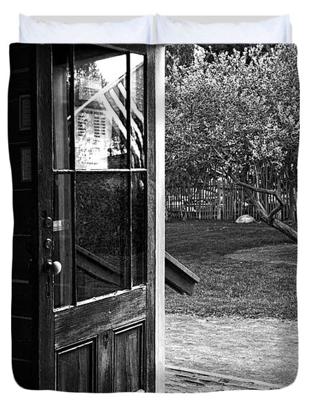 Open Door B-w Duvet Cover by Christopher Holmes