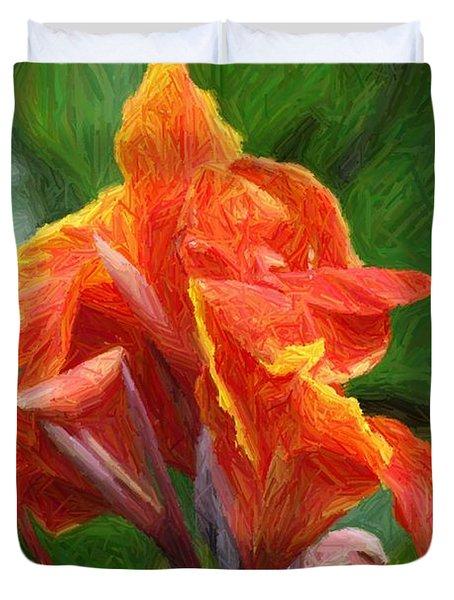 Orange Canna Art Duvet Cover by John W Smith III