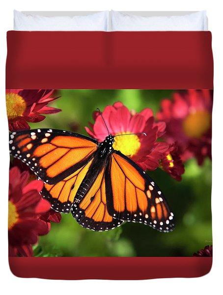 Orange Drift Monarch Butterfly Duvet Cover by Christina Rollo