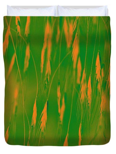 Orange Grass Spikes Duvet Cover by Heiko Koehrer-Wagner