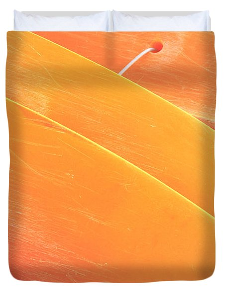 Orange Kayaks Duvet Cover by Brandon Tabiolo - Printscapes