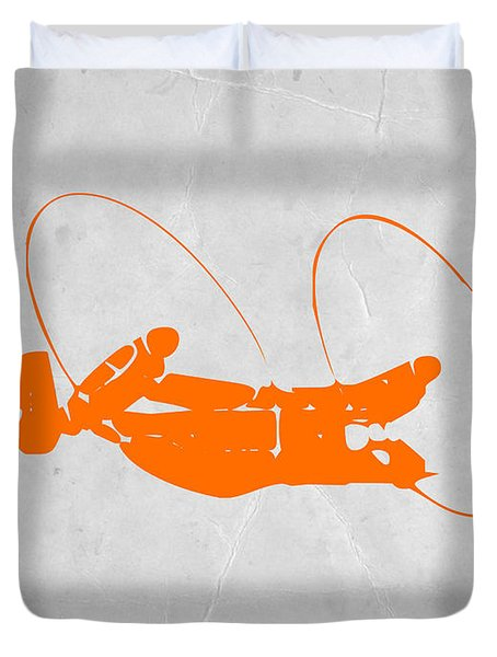 Orange Plane Duvet Cover by Naxart Studio