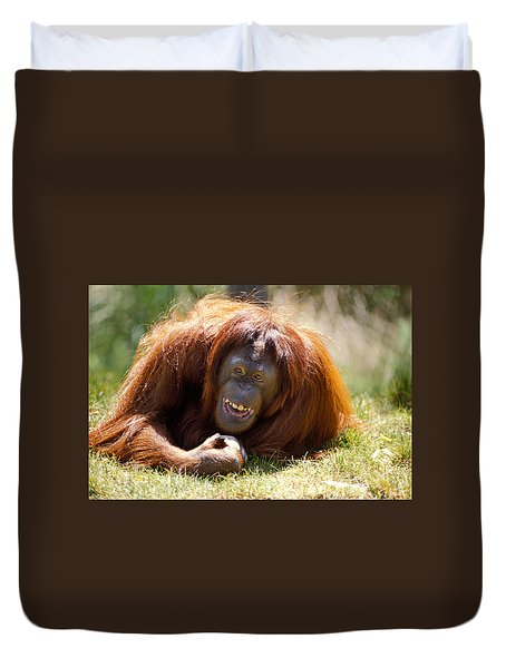 Orangutan In The Grass Duvet Cover by Garry Gay