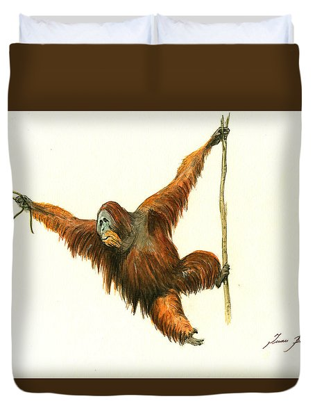 Orangutan Duvet Cover by Juan Bosco