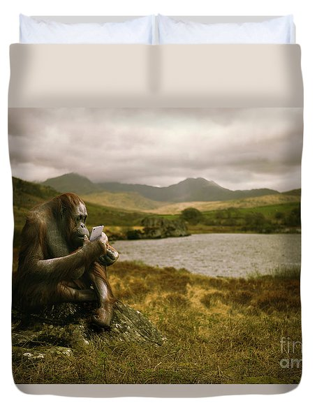 Orangutan With Smart Phone Duvet Cover by Amanda Elwell