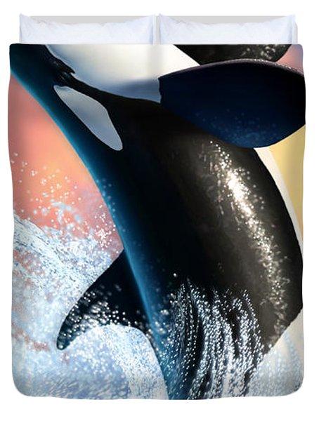 Orca 1 Duvet Cover by Jerry LoFaro