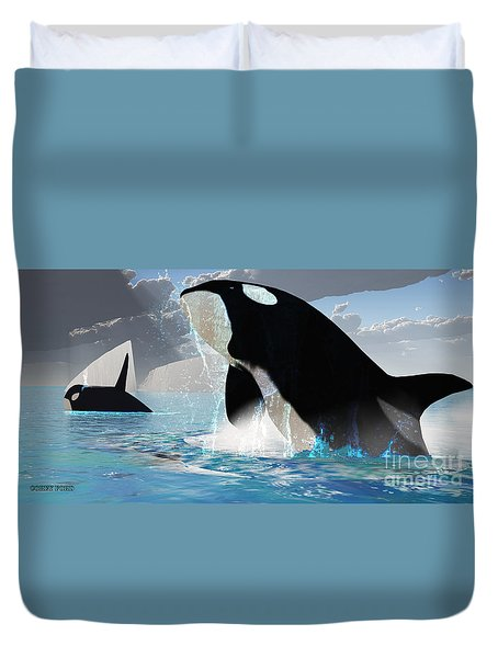 Orca Whales Duvet Cover by Corey Ford