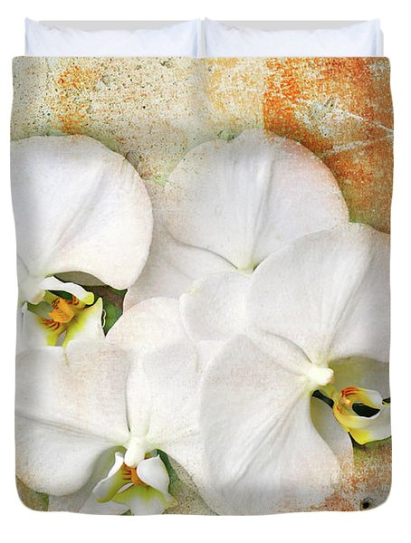 Orchids Upon The Rough Duvet Cover by Andee Design