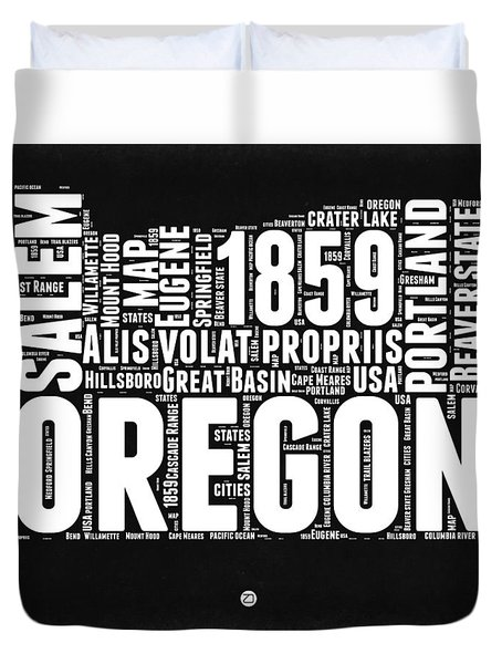 Oregon Black And White Map Duvet Cover by Naxart Studio