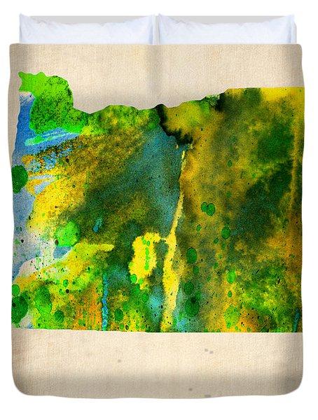 Oregon Watercolor Map Duvet Cover by Naxart Studio