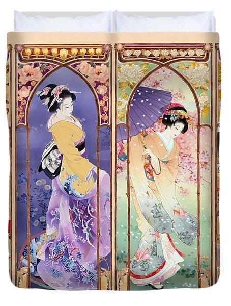 Oriental Gate Multi-pic Duvet Cover by Haruyo Morita