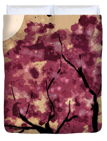 Oriental Plum Blossom Duvet Cover by Xueling Zou