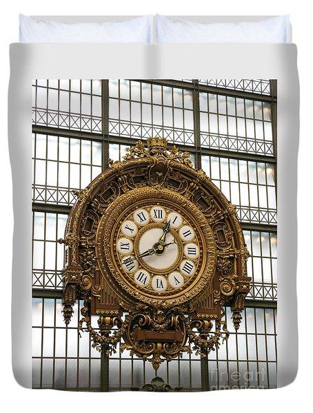 Ornate Orsay Clock Duvet Cover by Ann Horn