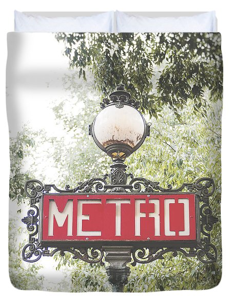 Ornate Paris Metro Sign Duvet Cover by Ivy Ho