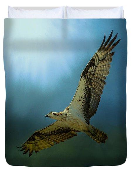 Osprey In The Evening Light Duvet Cover by Jai Johnson