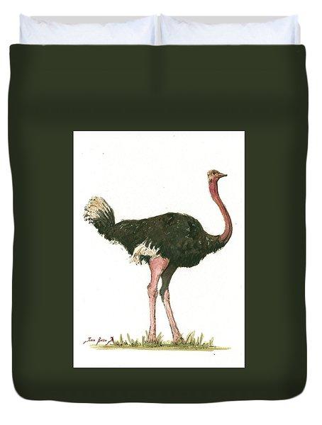 Ostrich Bird Duvet Cover by Juan Bosco