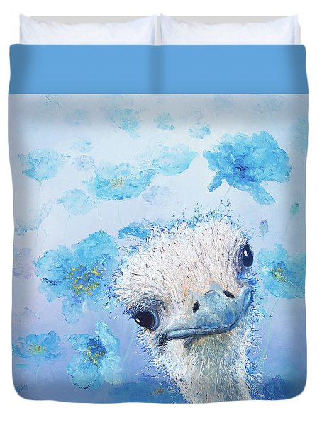 Ostrich In A Field Of Poppies Duvet Cover by Jan Matson