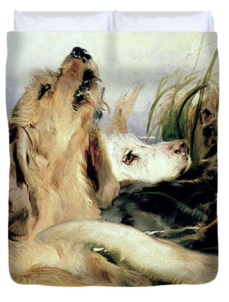 Otter Hounds Duvet Cover by Sir Edwin Landseer