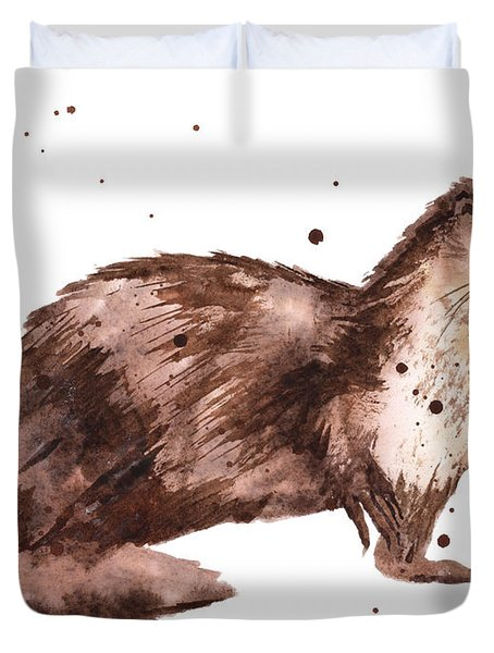 Otter Painting Duvet Cover by Alison Fennell